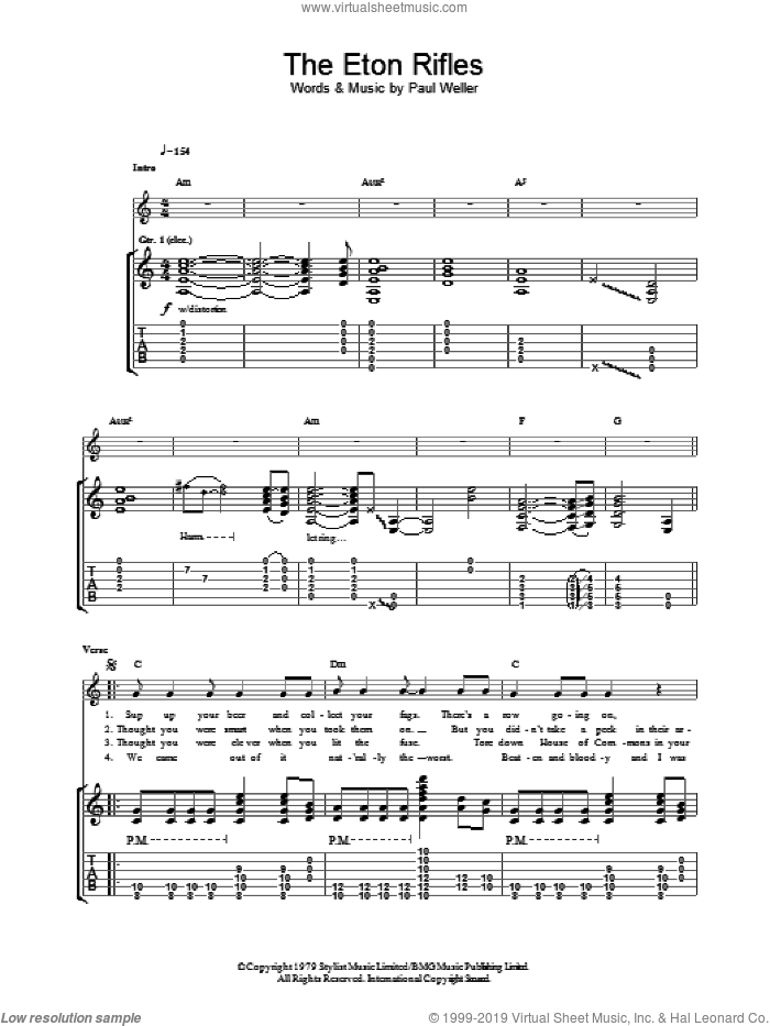The Eton Rifles sheet music for guitar (tablature) by The Jam and Paul Weller. Score Image Preview.