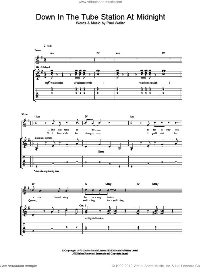 Down In The Tube Station At Midnight sheet music for guitar (tablature) by The Jam and Paul Weller, intermediate guitar (tablature). Score Image Preview.