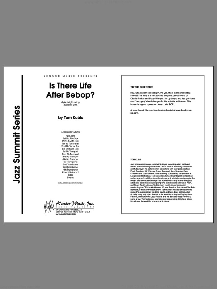 Is There Life After Bebop? (COMPLETE) sheet music for jazz band by Kubis, classical score, intermediate. Score Image Preview.