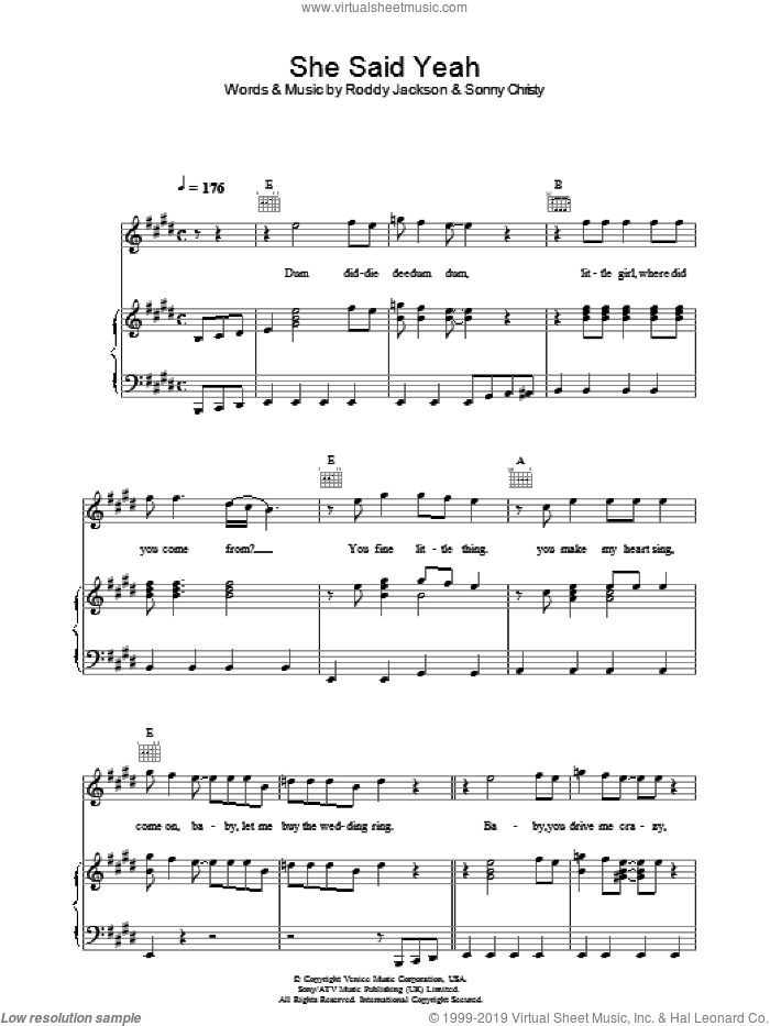She Said Yeah sheet music for voice, piano or guitar by Paul McCartney, Roddy Jackson and Sonny Christy, intermediate