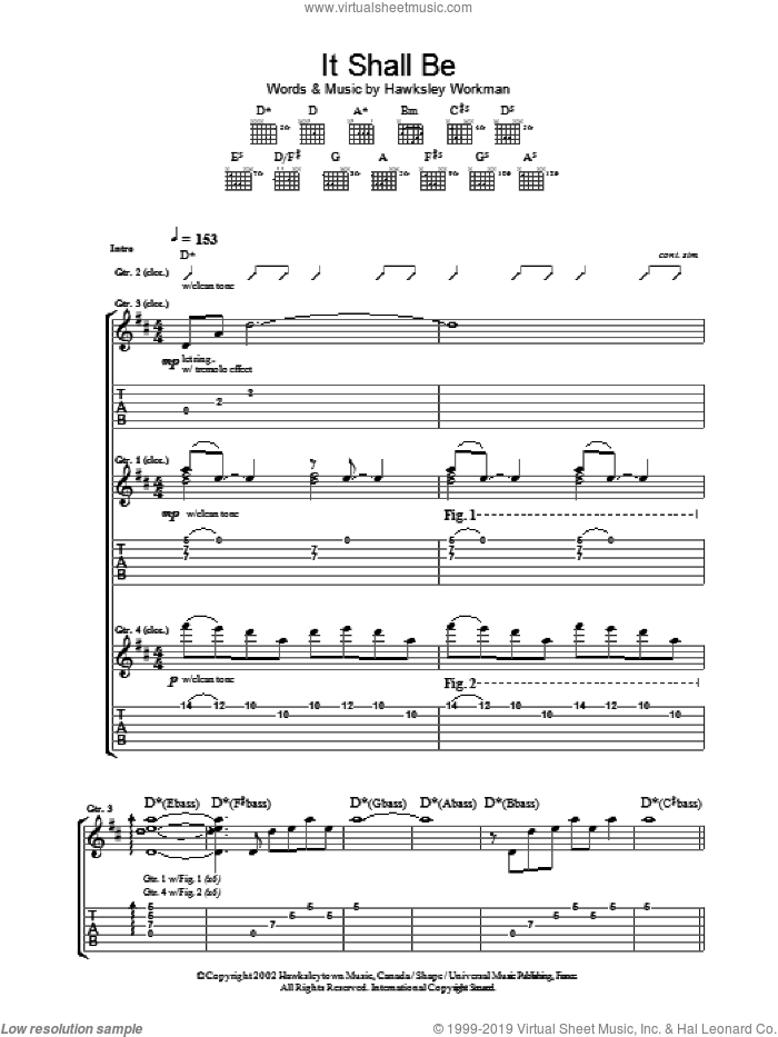 It Shall Be sheet music for guitar (tablature) by Hawksley Workman, intermediate