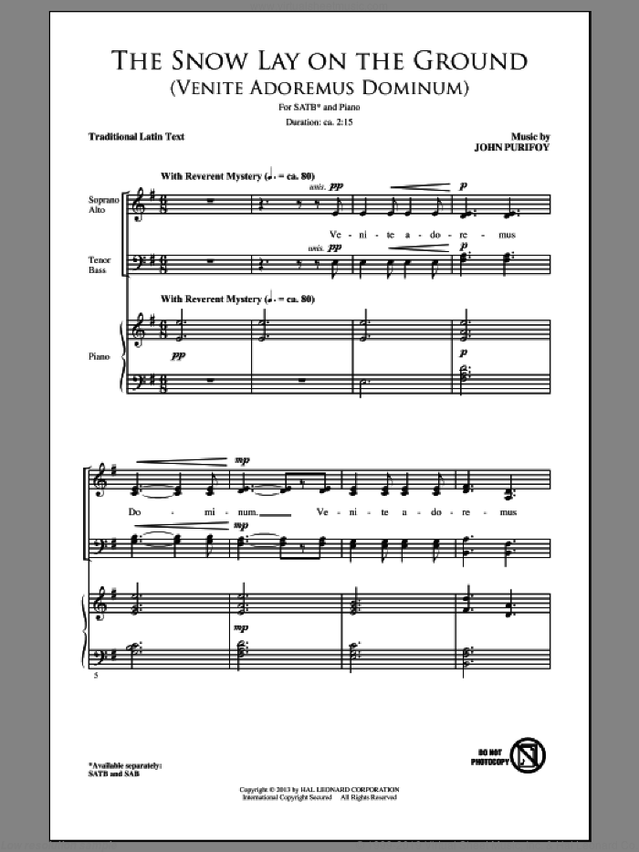 The Snow Lay On The Ground (Venite Adoremus Dominum) sheet music for choir (SATB) by John Purifoy and Miscellaneous. Score Image Preview.