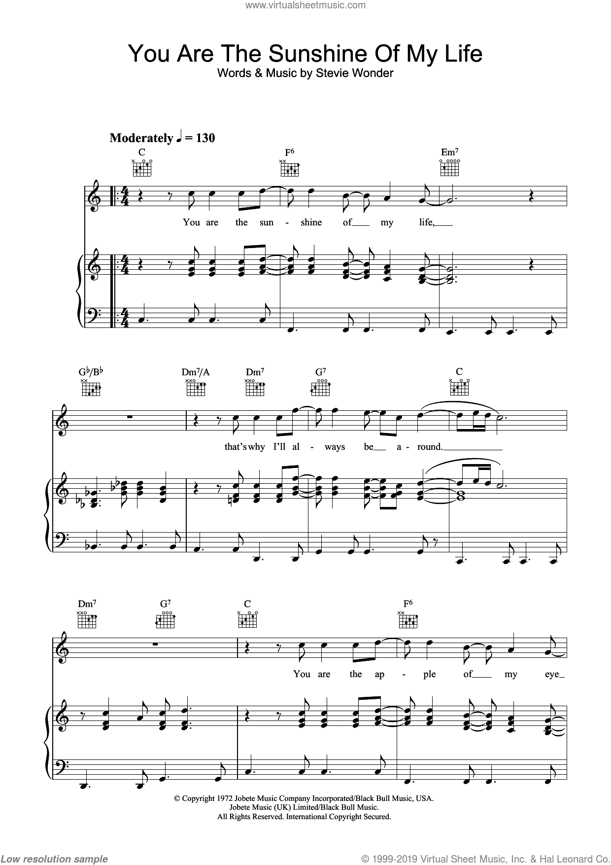 You Are The Sunshine Of My Life sheet music for voice, piano or guitar by Stevie Wonder. Score Image Preview.