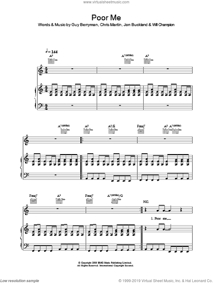 Poor Me sheet music for voice, piano or guitar by Will Champion, Coldplay, Chris Martin, Guy Berryman and Jon Buckland. Score Image Preview.