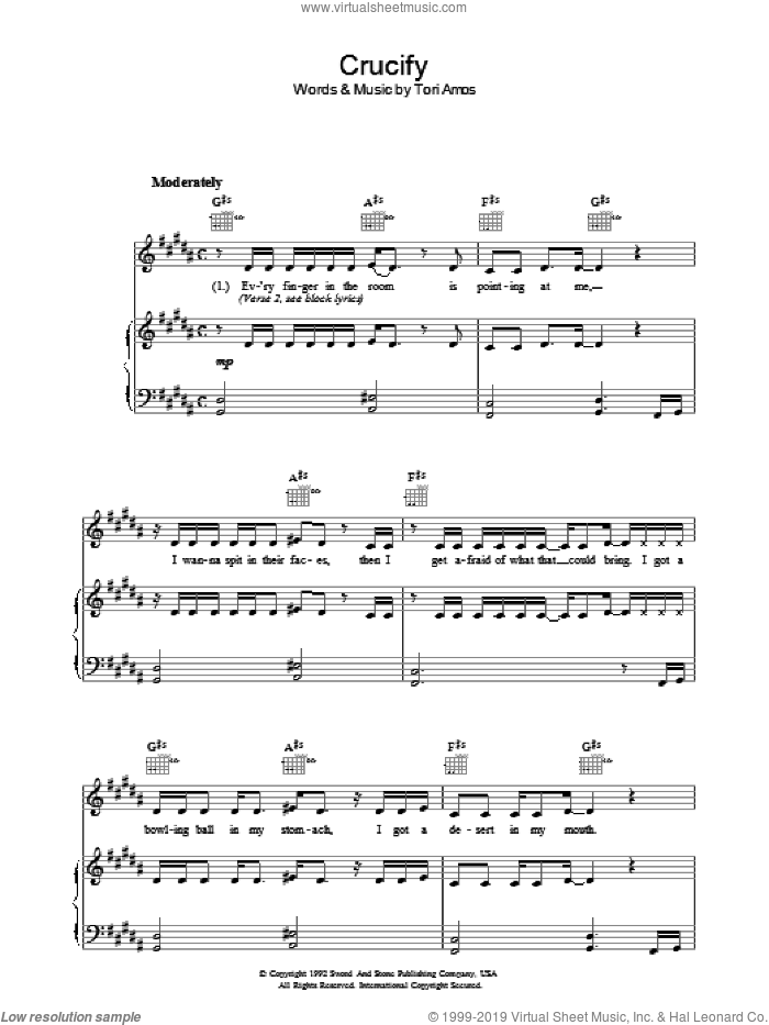Crucify sheet music for voice, piano or guitar by Tori Amos, intermediate skill level