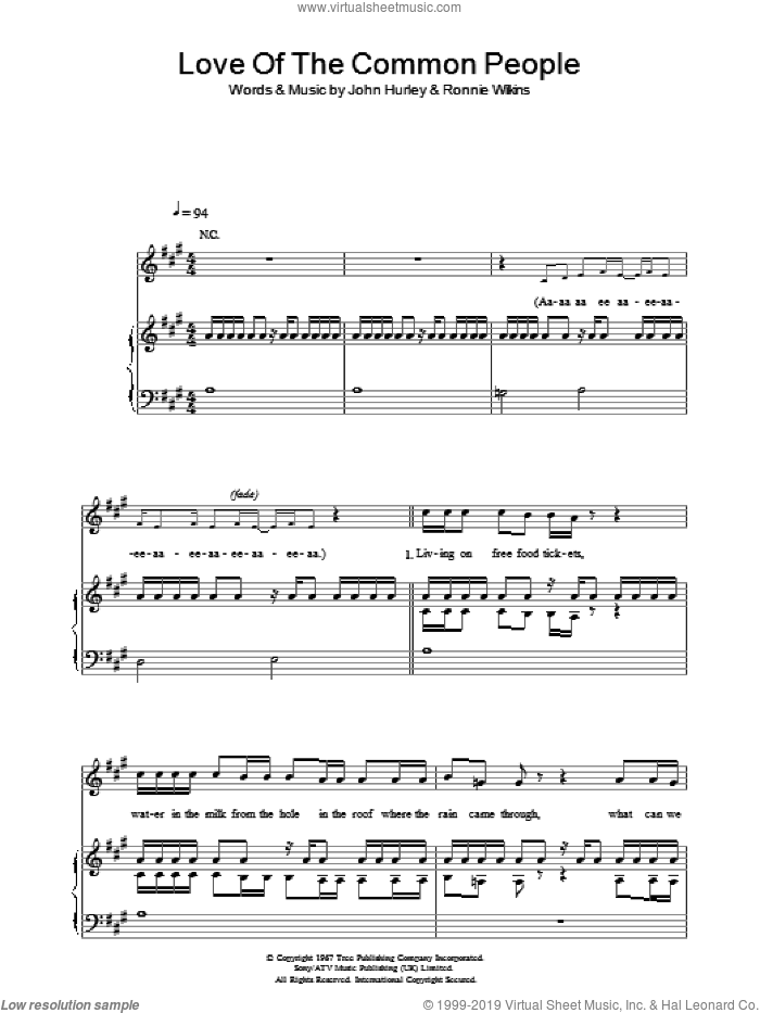 Love Of The Common People sheet music for voice, piano or guitar by Ronnie Wilkins, Paul Young and John Hurley. Score Image Preview.