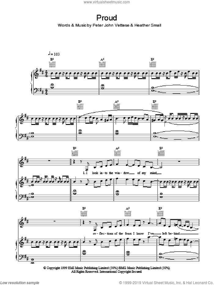Proud sheet music for voice, piano or guitar by Peter John Vettese