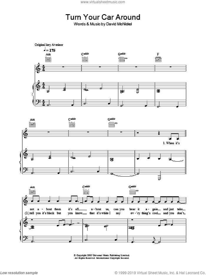 Turn Your Car Around sheet music for voice, piano or guitar by Lee Ryan and David McNickel, intermediate. Score Image Preview.