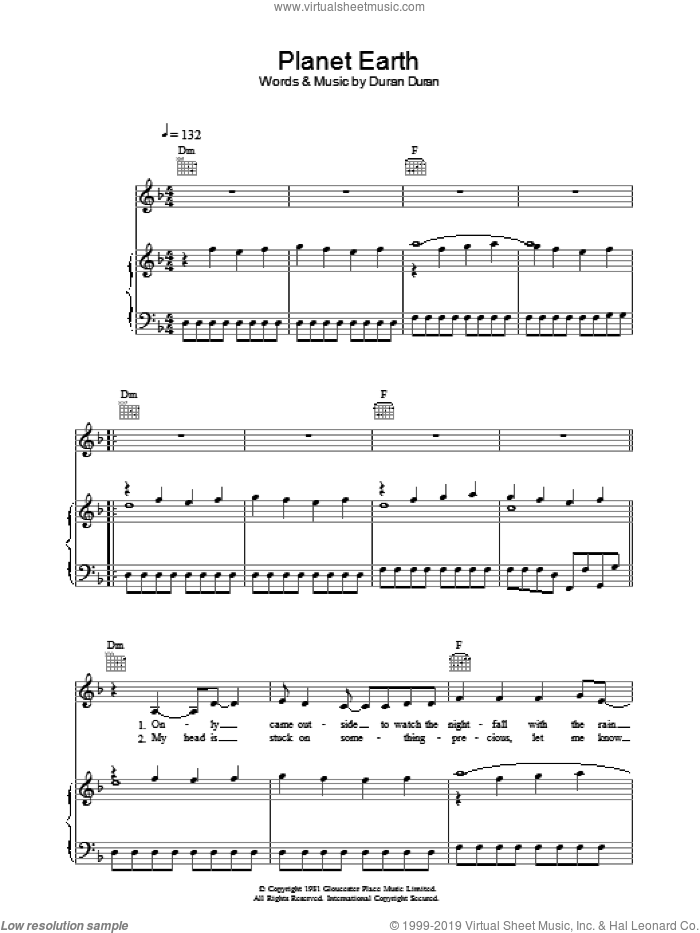 Planet Earth sheet music for voice, piano or guitar by Duran Duran. Score Image Preview.