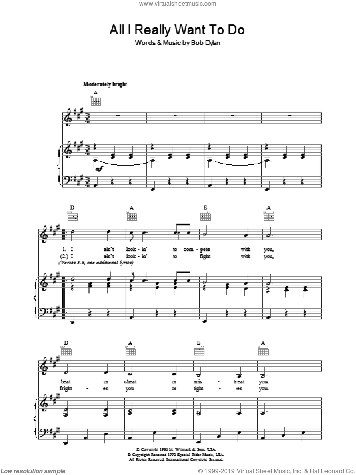All I Really Want To Do sheet music for voice, piano or guitar by Bob Dylan. Score Image Preview.