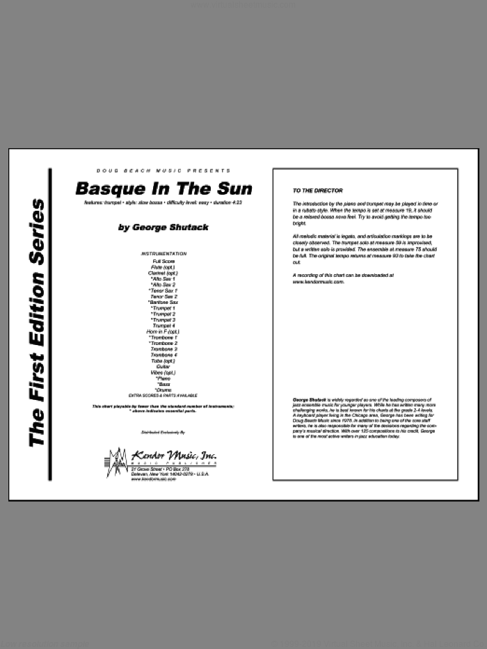 Basque In The Sun (COMPLETE) sheet music for jazz band by Shutack, classical score, intermediate skill level