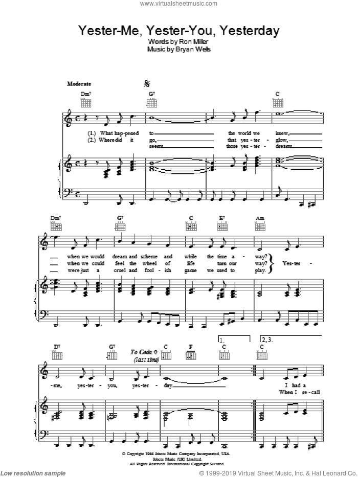 Yester-me, Yester-you, Yesterday sheet music for voice, piano or guitar by Stevie Wonder and Ron Miller, intermediate voice, piano or guitar. Score Image Preview.
