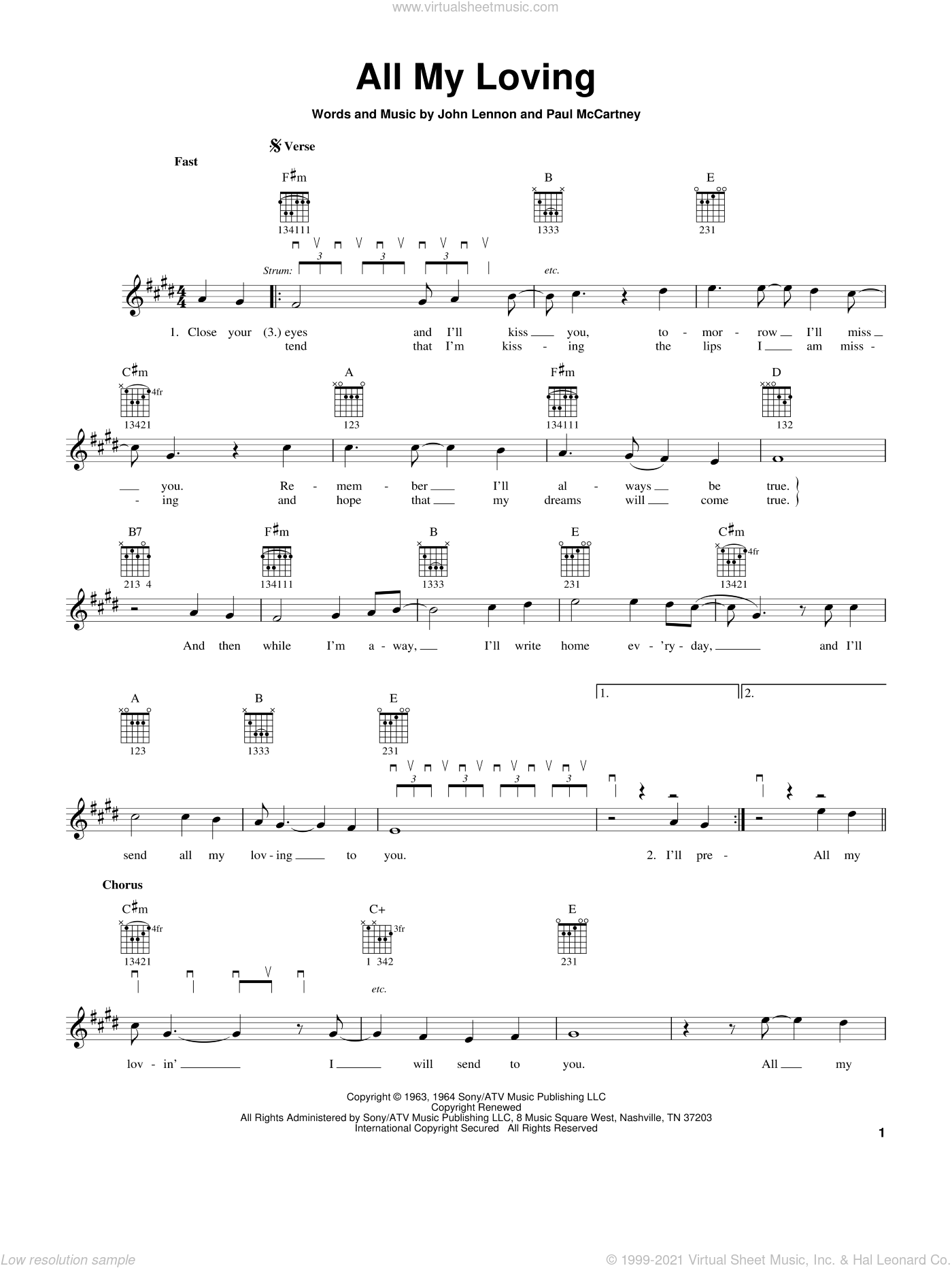 All My Loving sheet music for guitar solo (chords) by The Beatles, John Lennon and Paul McCartney, easy guitar (chords)