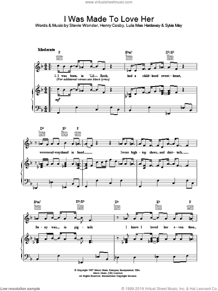 I Was Made To Love Her sheet music for voice, piano or guitar by Stevie Wonder, intermediate voice, piano or guitar. Score Image Preview.