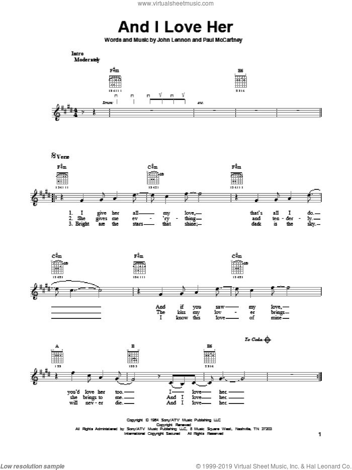 And I Love Her sheet music for guitar solo (chords) by The Beatles, John Lennon and Paul McCartney, easy guitar (chords)