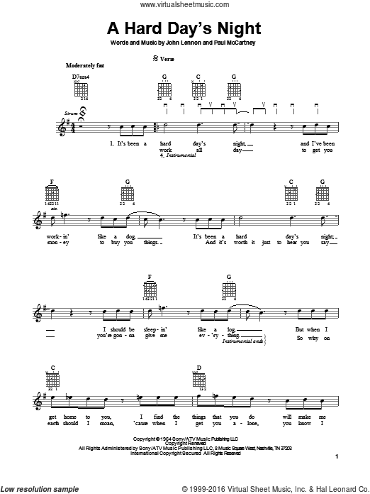 A Hard Day's Night sheet music for guitar solo (chords) by Paul McCartney, John Lennon and The Beatles. Score Image Preview.