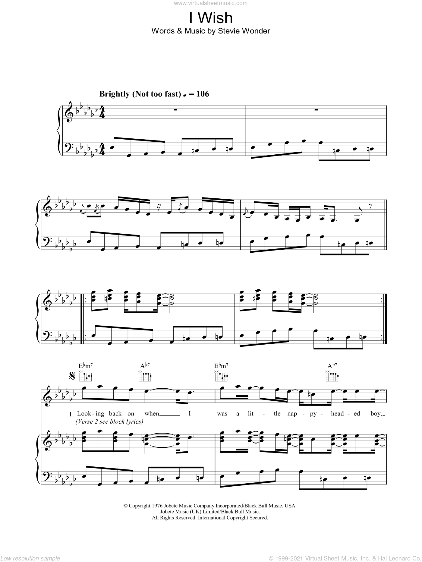 I Wish sheet music for voice, piano or guitar by Stevie Wonder. Score Image Preview.