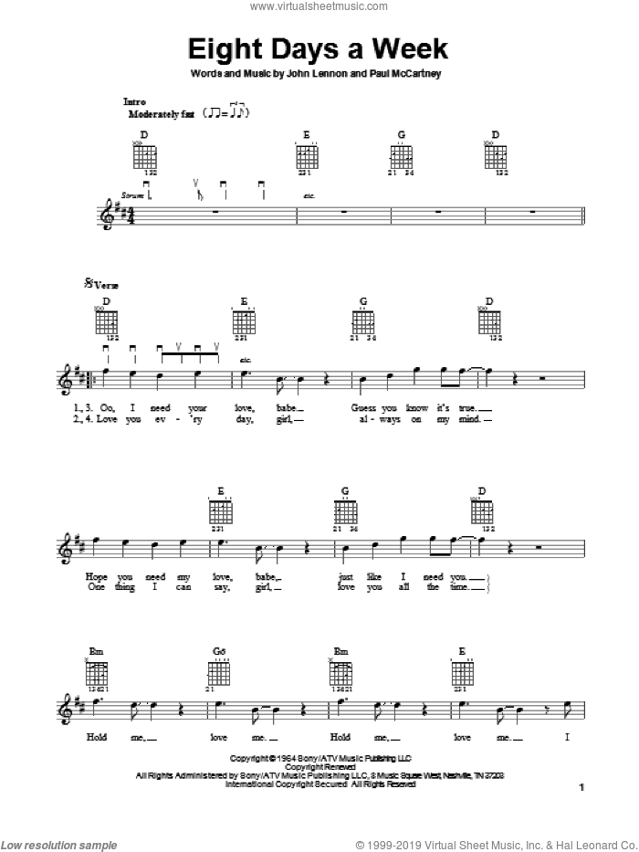 Eight Days A Week sheet music for guitar solo (chords) by The Beatles, John Lennon and Paul McCartney. Score Image Preview.