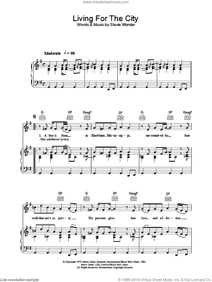 Living For The City sheet music for voice, piano or guitar by Stevie Wonder, intermediate skill level