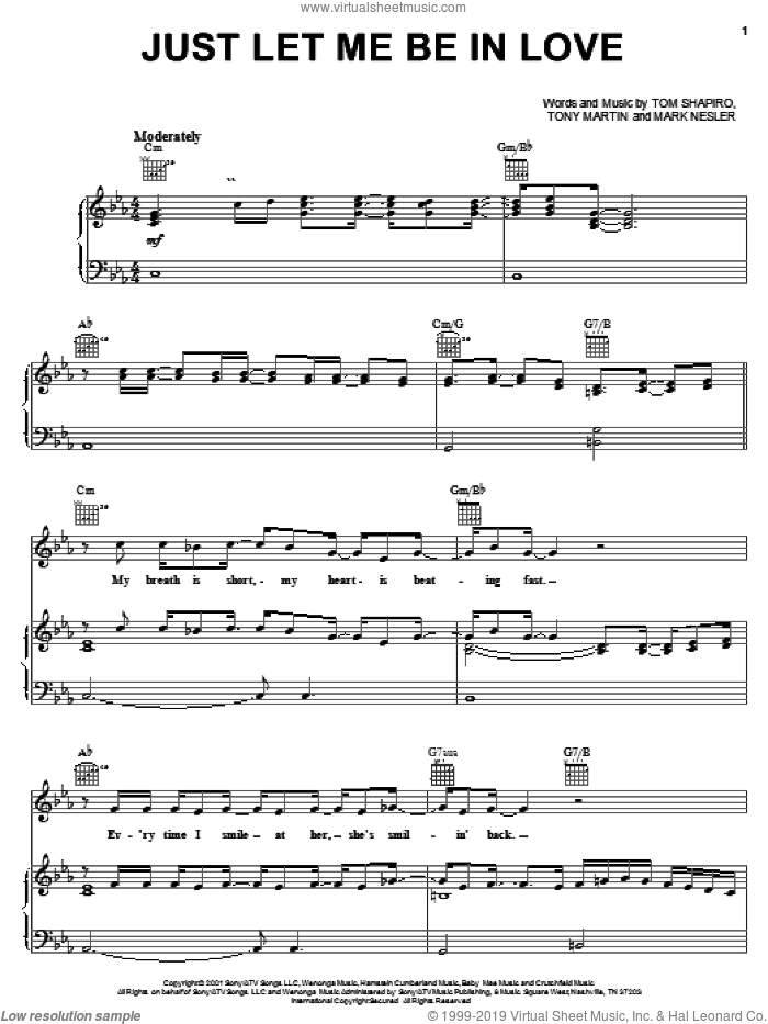 Just Let Me Be In Love sheet music for voice, piano or guitar by Tony Martin, Tracy Byrd, Mark Nesler and Tom Shapiro. Score Image Preview.
