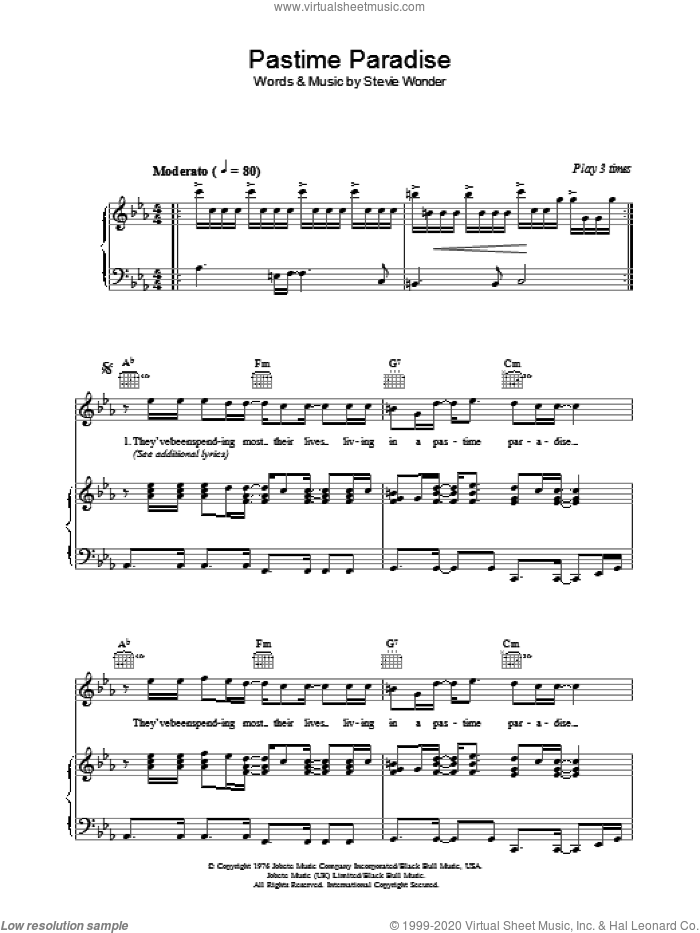 Pastime Paradise sheet music for voice, piano or guitar by Stevie Wonder. Score Image Preview.