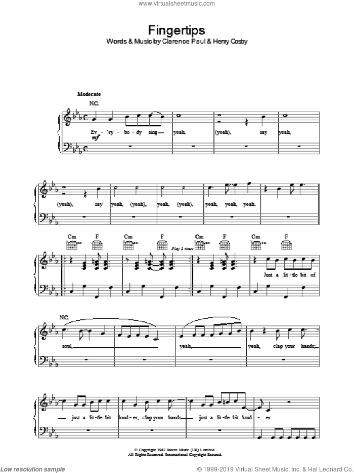 Fingertips sheet music for voice, piano or guitar by Stevie Wonder, intermediate voice, piano or guitar. Score Image Preview.