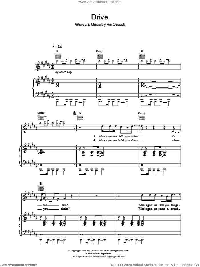 Drive sheet music for voice, piano or guitar by Ric Ocasek. Score Image Preview.