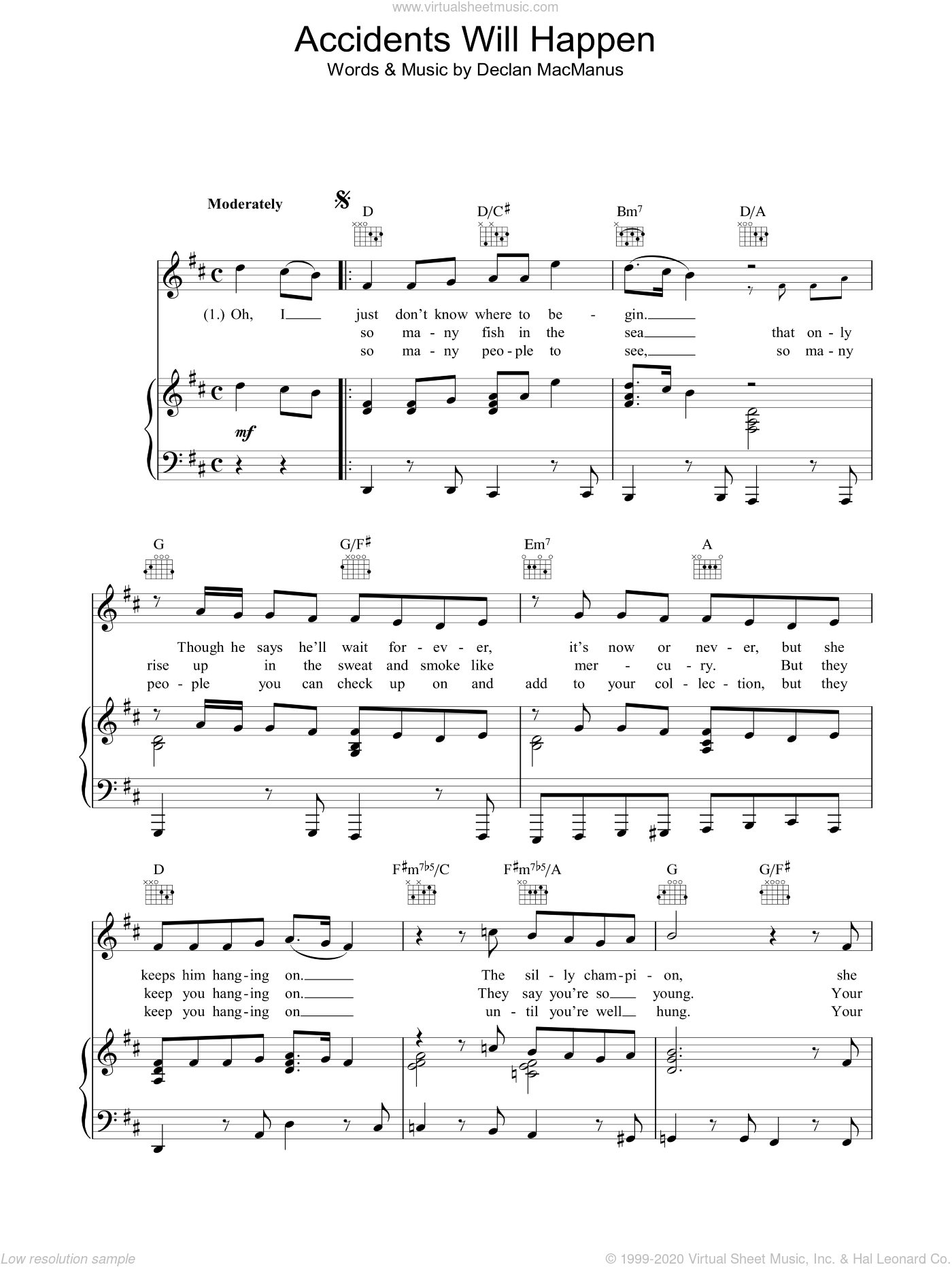 Accidents Will Happen sheet music for voice, piano or guitar by Declan Macmanus and Elvis Costello. Score Image Preview.