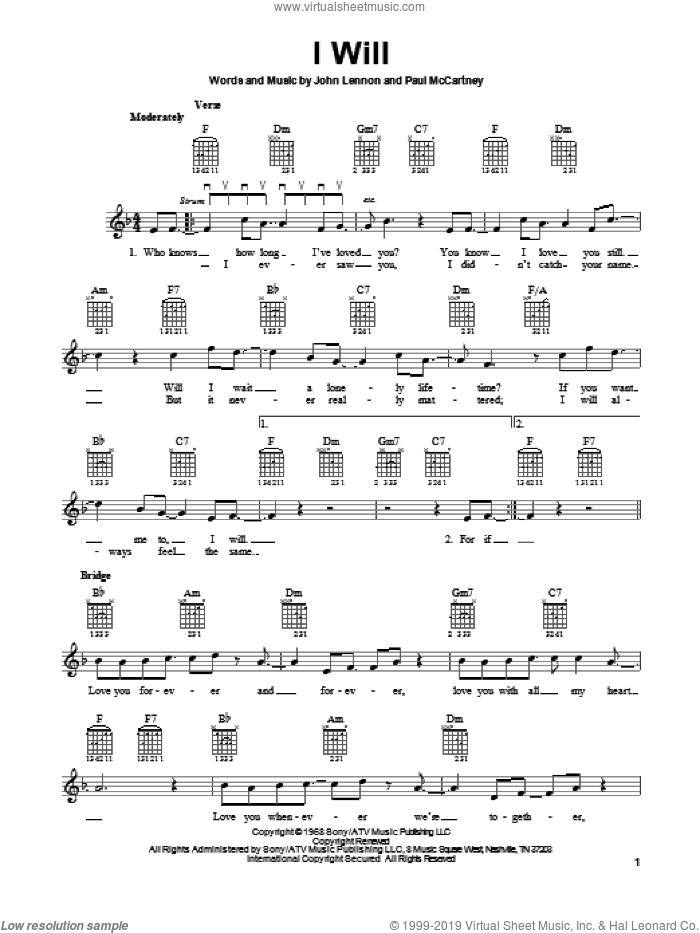 I Will sheet music for guitar solo (chords) by The Beatles, John Lennon and Paul McCartney, easy guitar (chords). Score Image Preview.