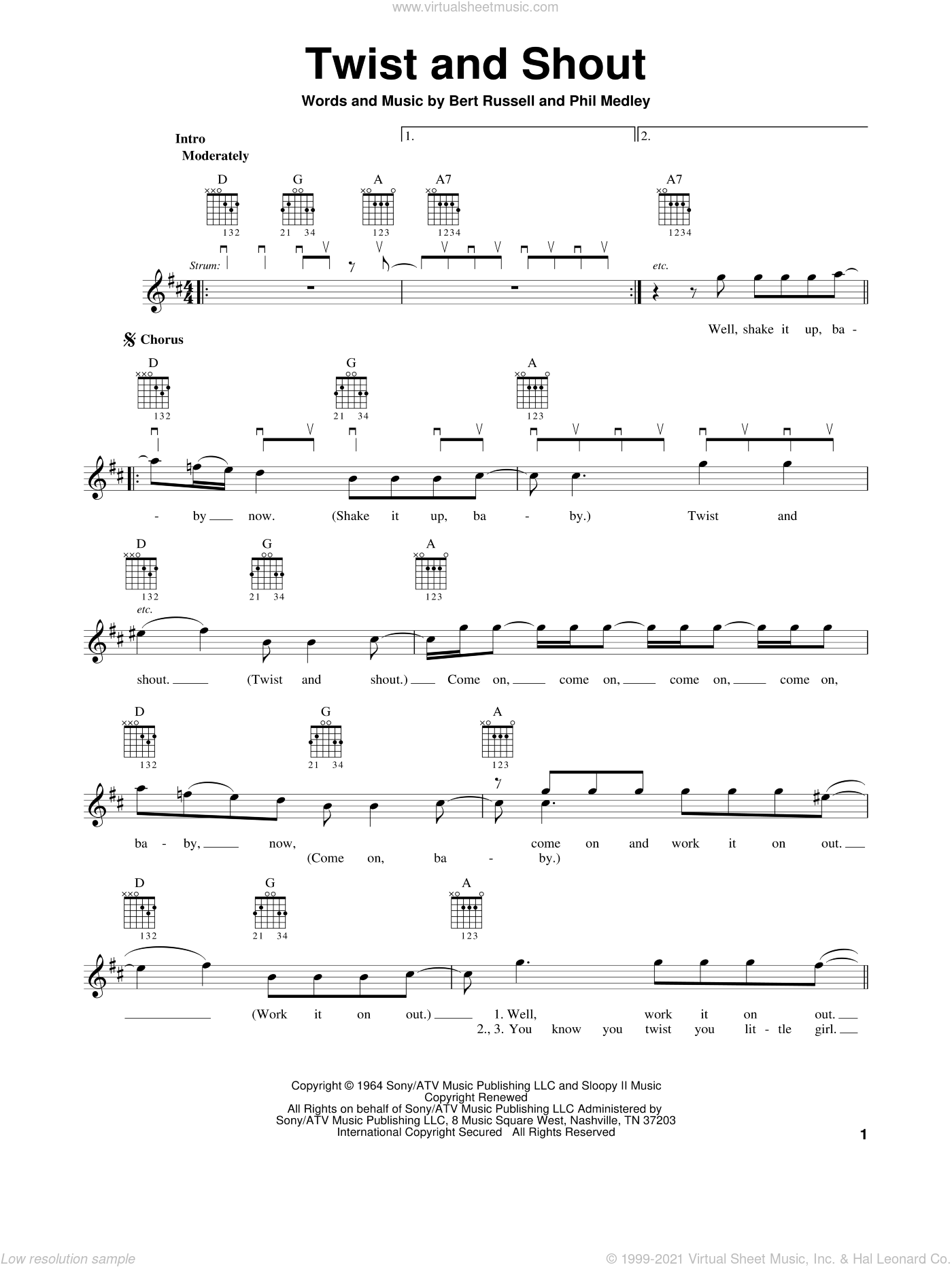 Twist And Shout sheet music for guitar solo (chords) by The Beatles. Score Image Preview.