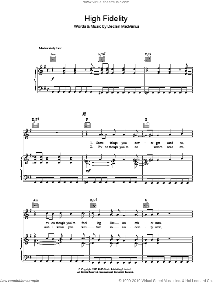 High Fidelity sheet music for voice, piano or guitar by Declan Macmanus and Elvis Costello. Score Image Preview.