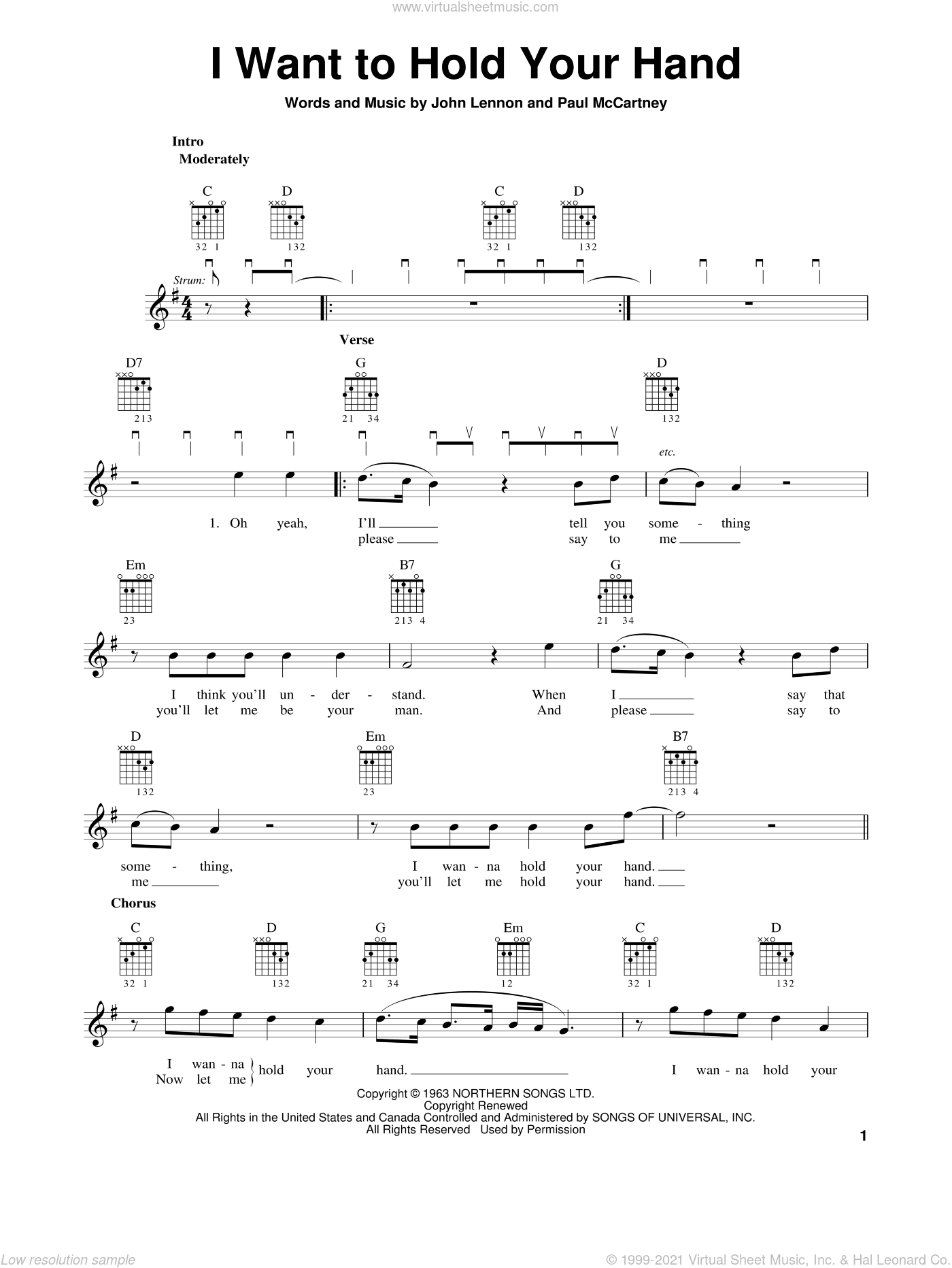 I Want To Hold Your Hand sheet music for guitar solo (chords) by The Beatles