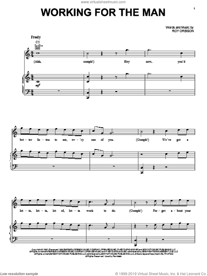 Working For The Man sheet music for voice, piano or guitar by Roy Orbison