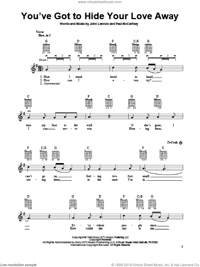 You've Got To Hide Your Love Away sheet music for guitar solo (chords) by The Beatles, easy guitar (chords)