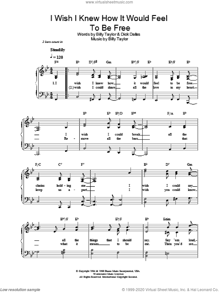 I Wish I Knew How It Would Feel To Be Free sheet music for voice, piano or guitar by Dick Dallas