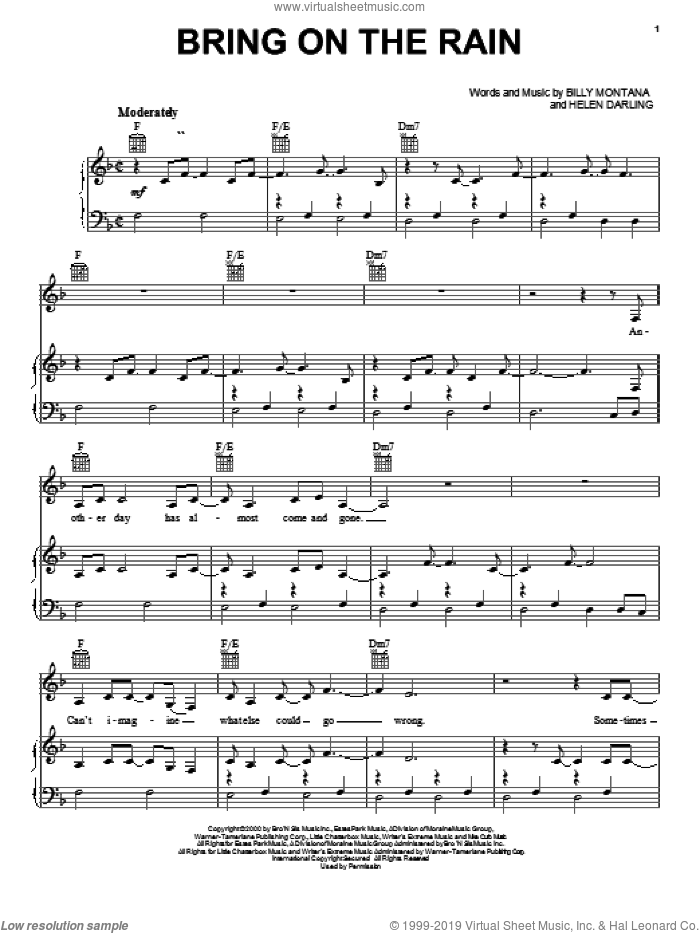 Bring On The Rain sheet music for voice, piano or guitar by Jo Dee Messina, Tim McGraw, Billy Montana and Helen Darling, intermediate skill level