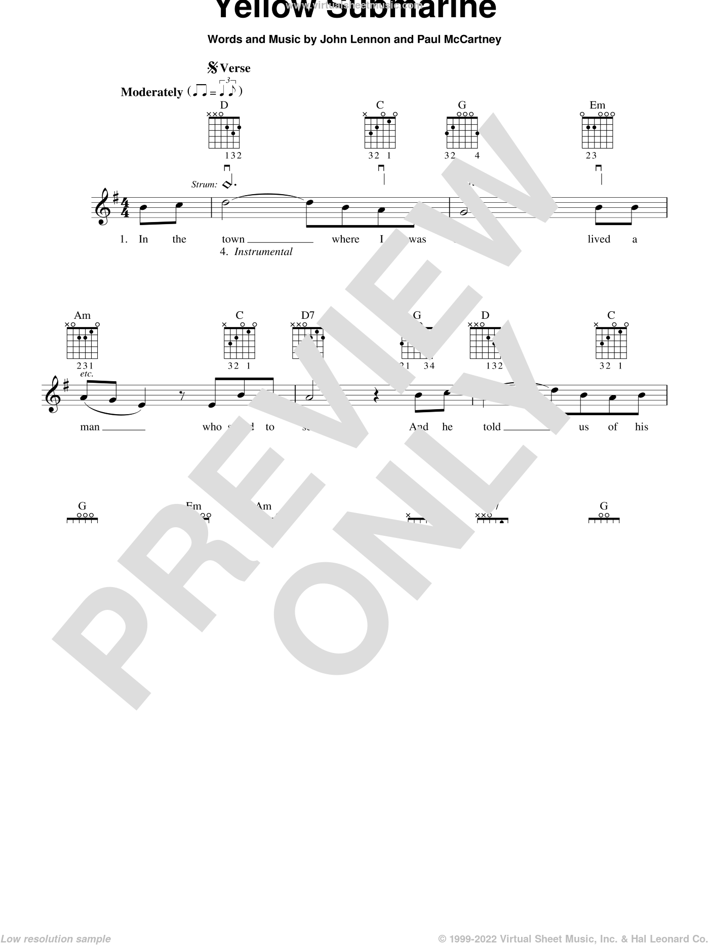 Yellow Submarine sheet music for guitar solo (chords) by The Beatles, John Lennon and Paul McCartney. Score Image Preview.