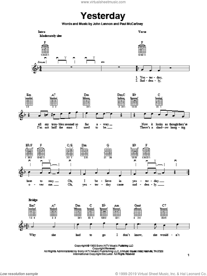 Yesterday sheet music for guitar solo (chords) by The Beatles, John Lennon and Paul McCartney. Score Image Preview.