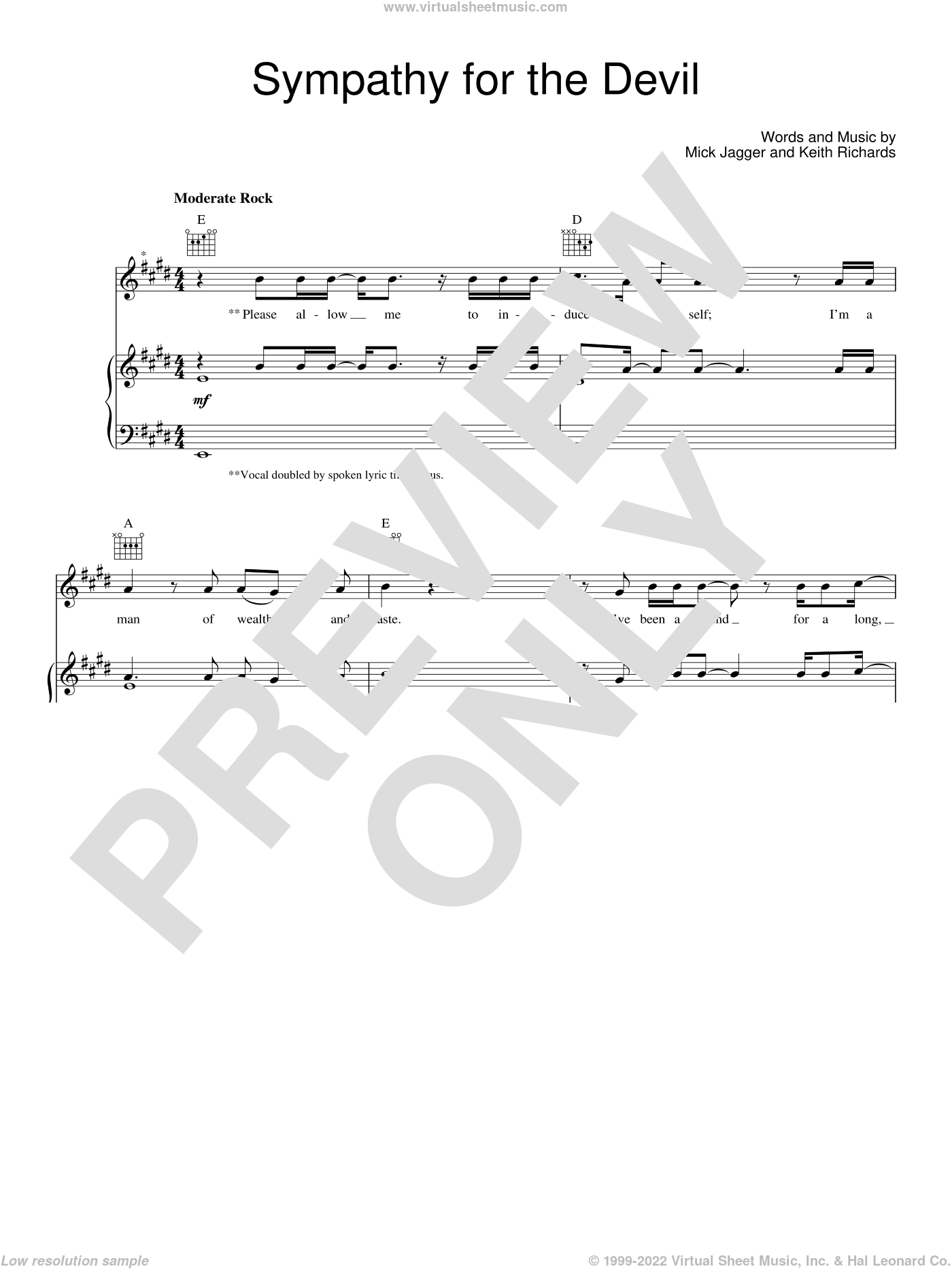 Sympathy For The Devil sheet music for voice, piano or guitar by Guns N' Roses, Keith Richards, Mick Jagger and The Rolling Stones, intermediate skill level