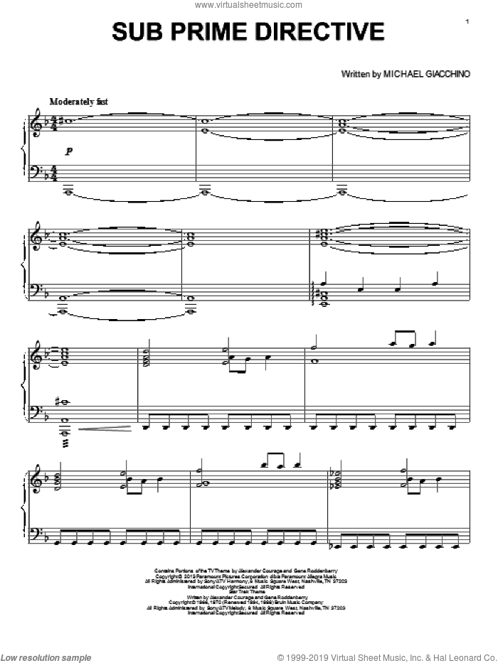 Sub Prime Directive sheet music for piano solo by Michael Giacchino, Alexander Courage, Gene Roddenberry and Star Trek: Into Darkness (Movie), intermediate skill level
