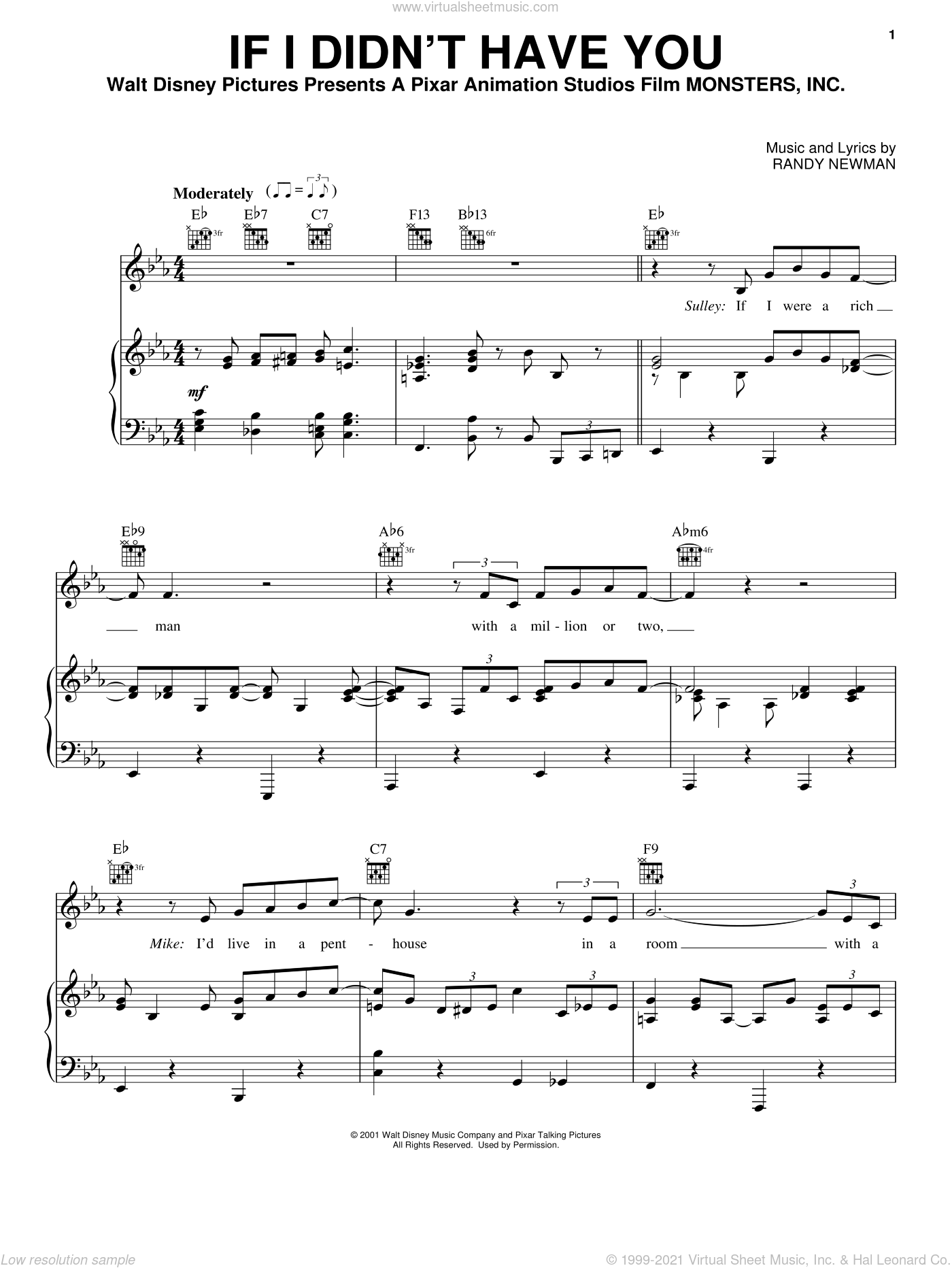 If I Didn't Have You (from Monsters, Inc.) sheet music for voice, piano or guitar by Billy Crystal and John Goodman, Billy Crystal, John Goodman, Monsters, Inc. (Movie) and Randy Newman, intermediate skill level