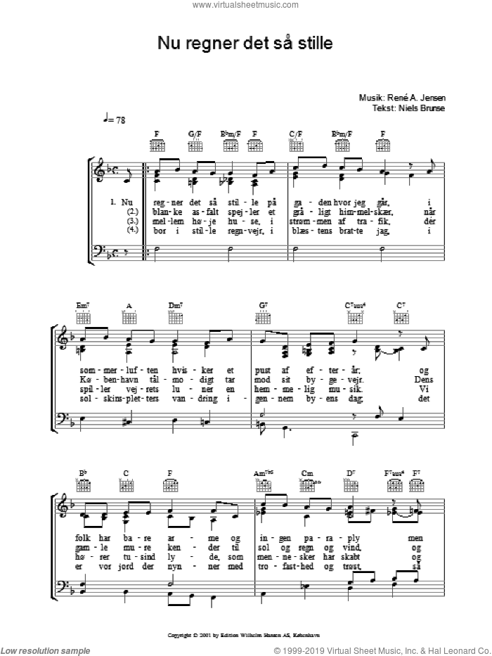 Nu Regner Det SA� Stille sheet music for voice, piano or guitar by Rene A. Jensen, intermediate voice, piano or guitar. Score Image Preview.