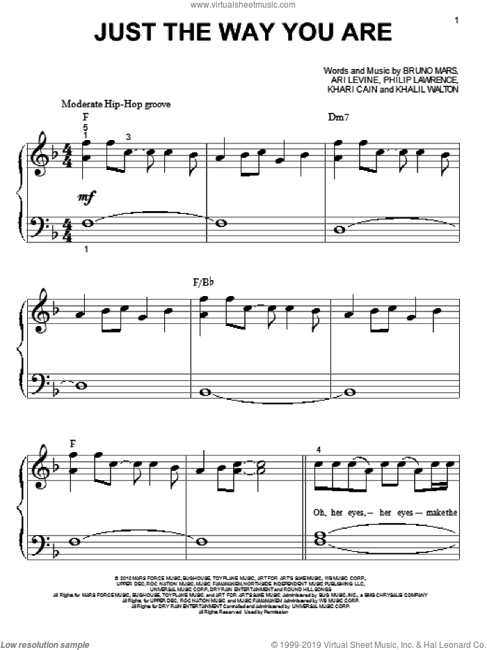 Just The Way You Are sheet music for piano solo (big note book) by Bruno Mars, easy piano (big note book)
