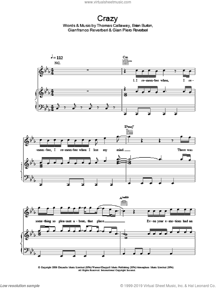 Crazy sheet music for voice, piano or guitar by Gnarls Barkley, Brian Burton, Gian Piero Reverberi, Gianfranco Reverberi and Thomas Callaway, intermediate skill level