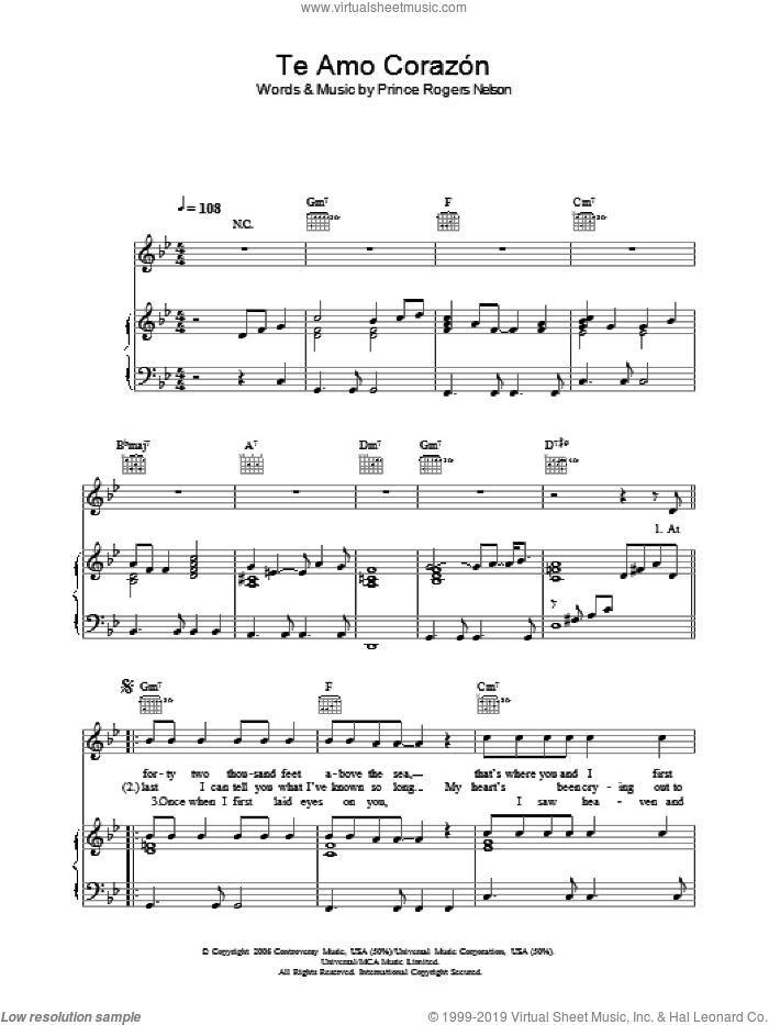 Te Amo Corazon sheet music for voice, piano or guitar by Prince Rogers Nelson and Prince. Score Image Preview.