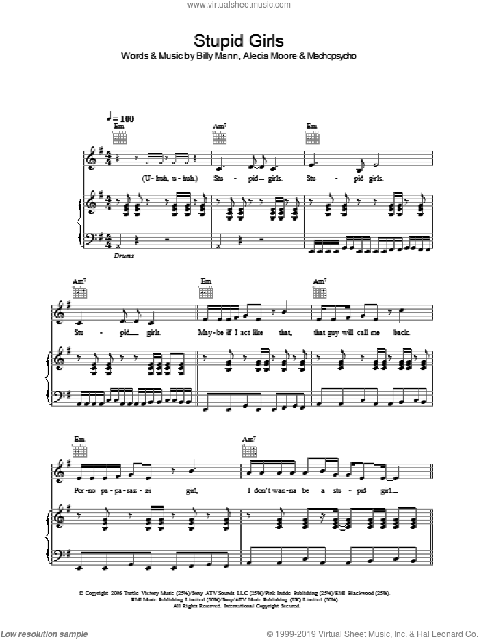 Stupid Girls sheet music for voice, piano or guitar by Machopsycho