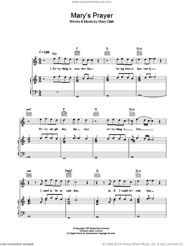 Mary's Prayer sheet music for voice, piano or guitar by Danny Wilson. Score Image Preview.