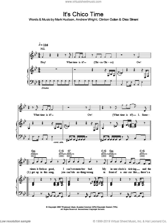 It's Chico Time sheet music for voice, piano or guitar by Mark Hudson and Andrew Wright. Score Image Preview.