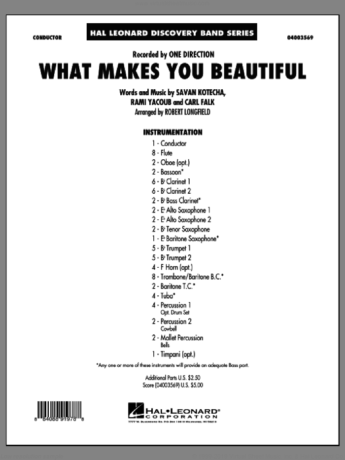 What Makes You Beautiful (COMPLETE) sheet music for concert band by Robert Longfield and One Direction, intermediate