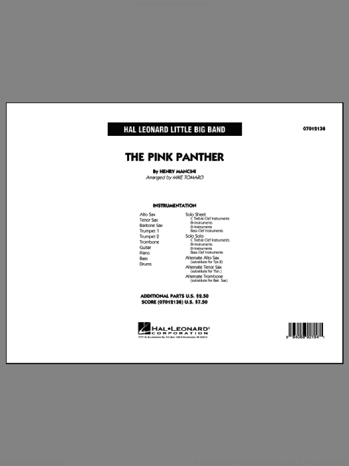 The Pink Panther (COMPLETE) sheet music for jazz band by Henry Mancini and Mike Tomaro, intermediate. Score Image Preview.